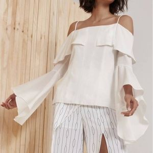 C/MEO Collective White Bell Sleeve Off Shoulder